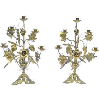 Brass Floral & Leaf Candelabras - A Pair