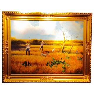 Hunting Dogs & Quail Original Oil Painting