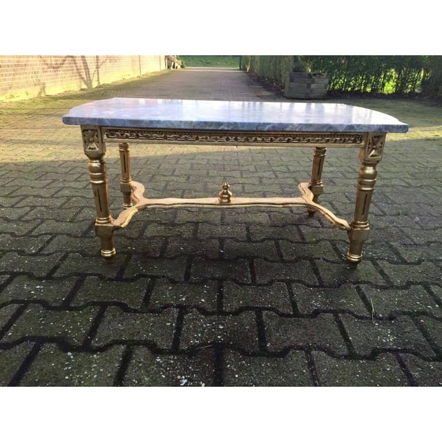 Gold Coffee Table With Stone Top: Louis XVI Gold Wood & Marble Top Coffee Table