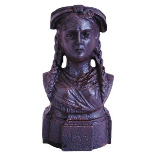 19th Century French Iron Lady Bust Fragment