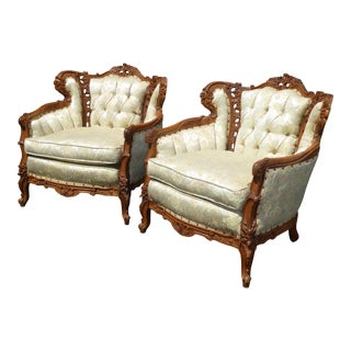 Vintage French Provincial Tufted Accent Chairs - A Pair