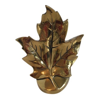 Vintage Brass Leaf Bookend