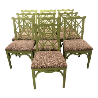 Custom Chinese Chippendale Green Chairs - Set of 10
