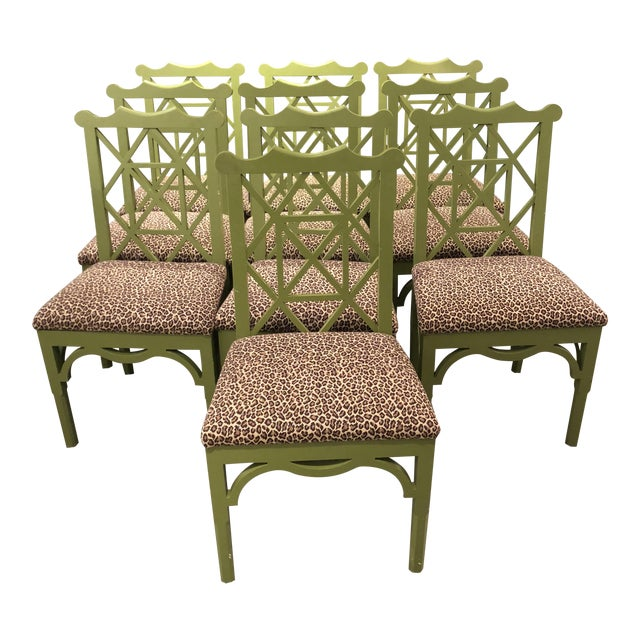 Custom Chinese Chippendale Green Chairs - Set of 10 - Image 1 of 11