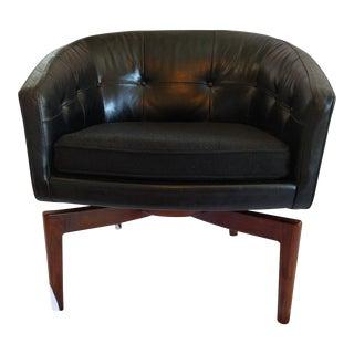 Vintage Jens Risom Walnut Base Tufted Leather Barrel Swivel Chair
