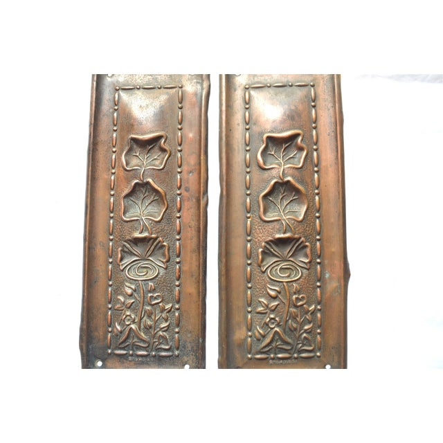 1910 Art Nouveau Copper Lotus Door Push Plates - Image 5 of 9