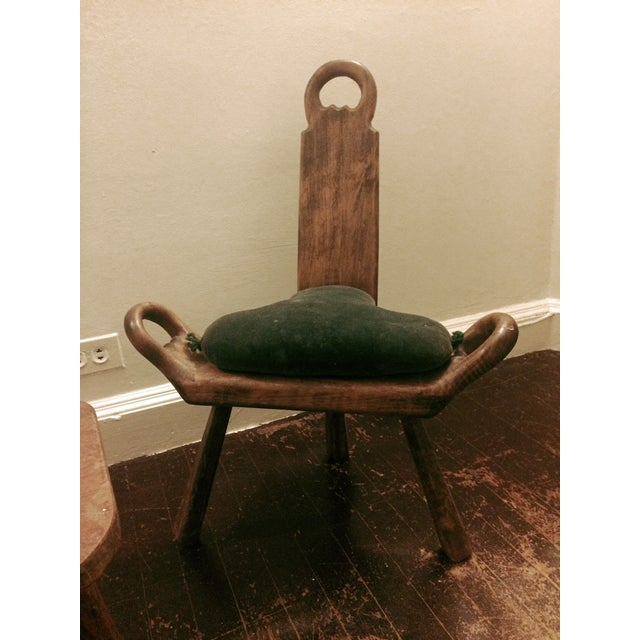 Primitive Carved Chairs & Stool - Set of 3 - Image 9 of 10