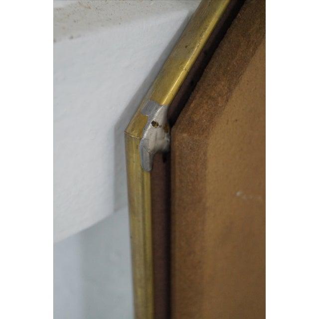 Brass Frame Harlequin Pattern Beveled Glass Mirror - Image 9 of 10