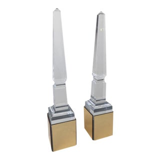 Pair of Tall Lucite Obelisk on Light Boxes