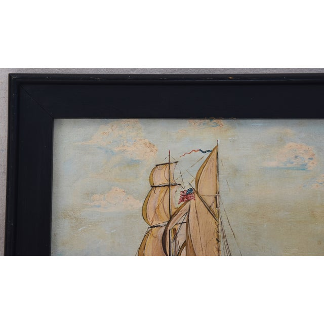 Image of Framed 1940s Sailing Ship Oil Painting
