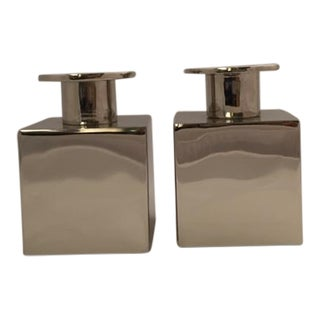 Michael Graves Cube Chrome Candlesticks - A Pair