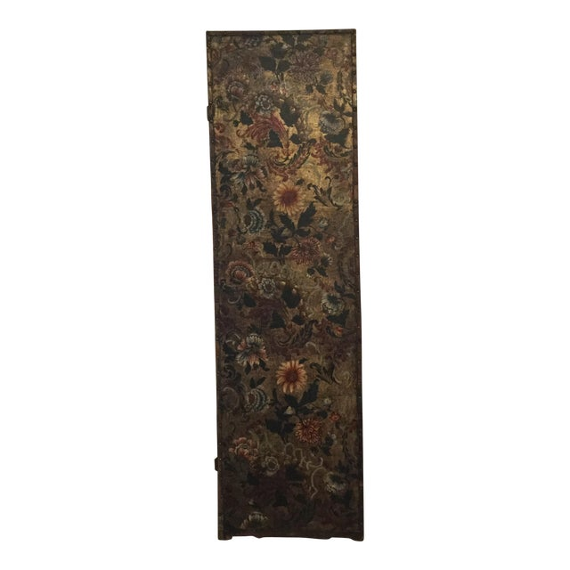 Antique French Handpainted Leather Screen Panel - Image 1 of 6