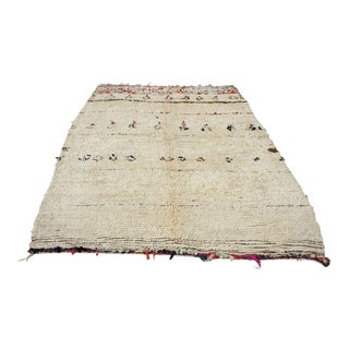 "Moroccan Subtly Patterned Ivory Rug- 5'5"" x 8'5"""