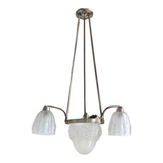 French Art Deco Pendant Light with Etched Floral Shades