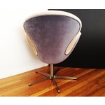 Image of Velvet Upholstered Swivel Swan Chair