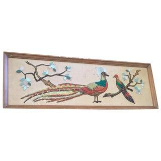 1950s Peacock Pebble Art