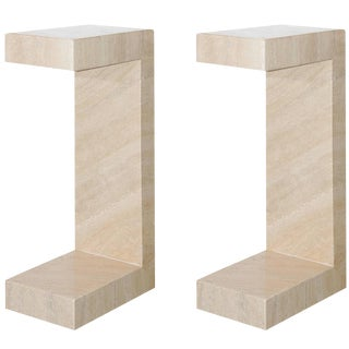 1970's Cantilevered Travertine Side Tables- A Pair
