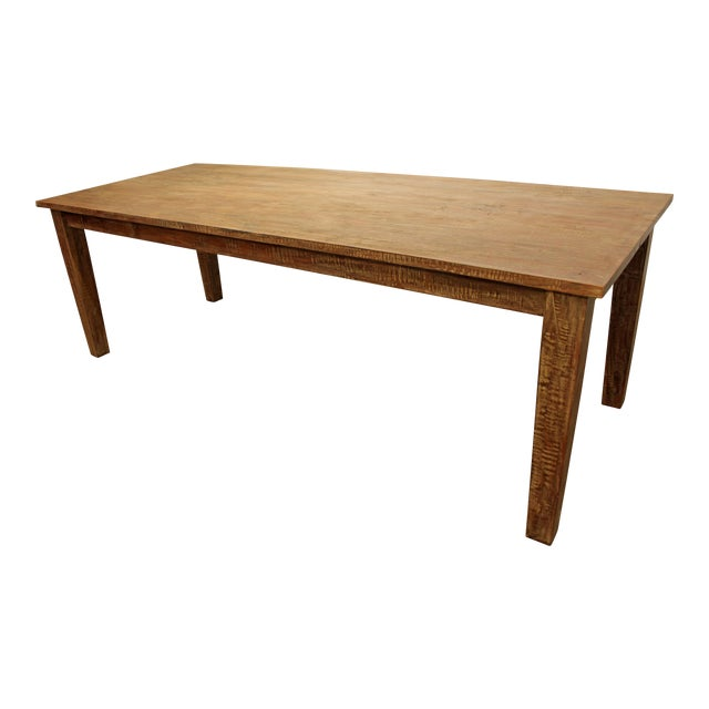 "French Country Farm Rustic Dining Table 90"" Long - Image 1 of 11"