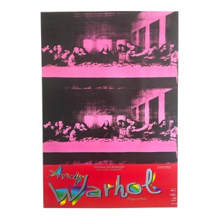 "Andy Warhol Rare Original Vintage Lithograph Italian Exhibition Pop Art Poster "" Last Supper "" 1986"