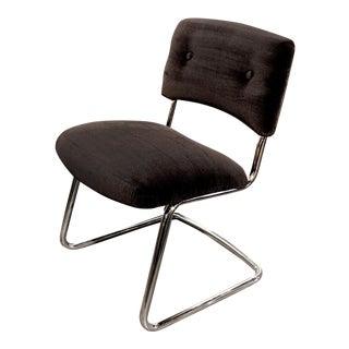 Steelcase Brown Micro-Velvet Cantilever Side Chair
