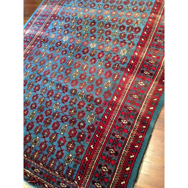 """Antique Blue/Red Persian Tribal Rug - 4'8"""" X 6'5"""" - Image 6 of 9"""
