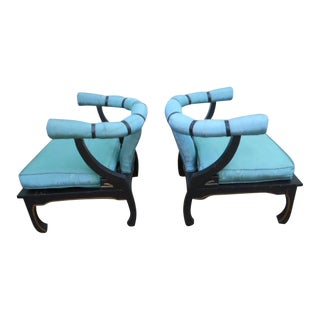 James Mont Ming Style Asian Lounge Chairs - a Pair