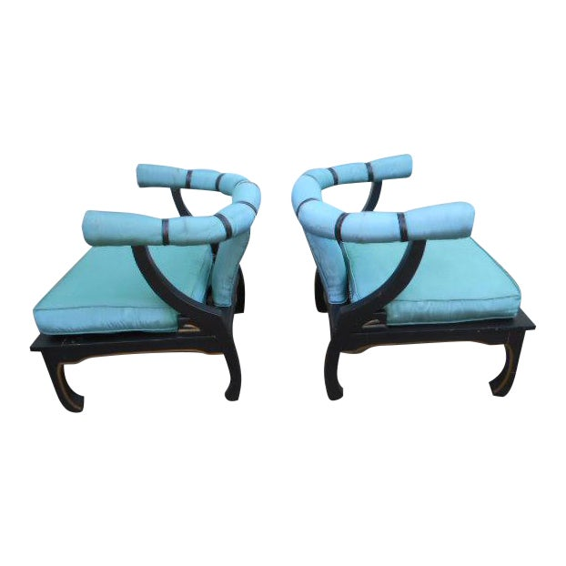 James Mont Style Asian Lounge Chairs - A Pair - Image 1 of 11