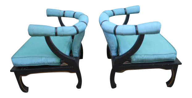 James Mont Style Asian Lounge Chairs   A Pair