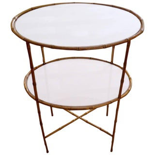Maison Bagues Two-Tier Bronze and Milk Glass Side Table
