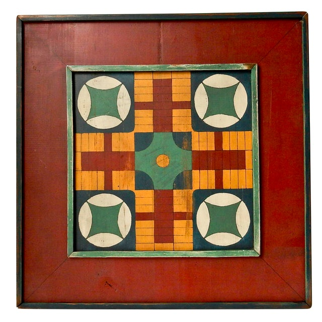 Hand Painted Parcheesi & Checkers Gameboard - Image 1 of 6