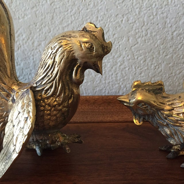 Vintage Brass Fighting Roosters - A Pair - Image 3 of 5