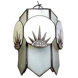 "Art Deco Six-Sided Glass ""Sunburst"" Chandelier"