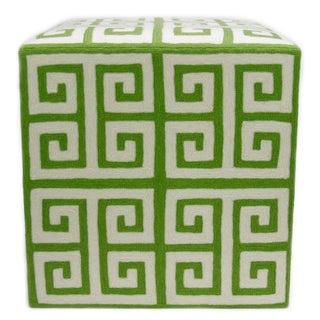Kashmiri Crewel Ottoman, Green Greek Key