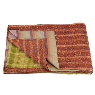 Floral Plaid Vintage Kantha Throw