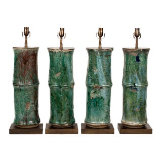 """Antique """"Bamboo"""" Glazed Ceramic Pipes Now Lamps"""