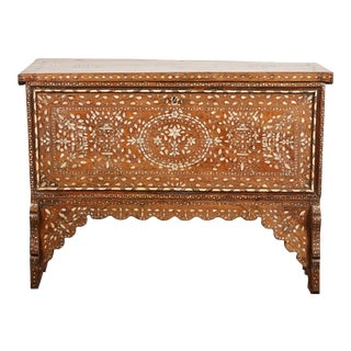 19th Century Syrian Inlaid Wedding Chest on Stand