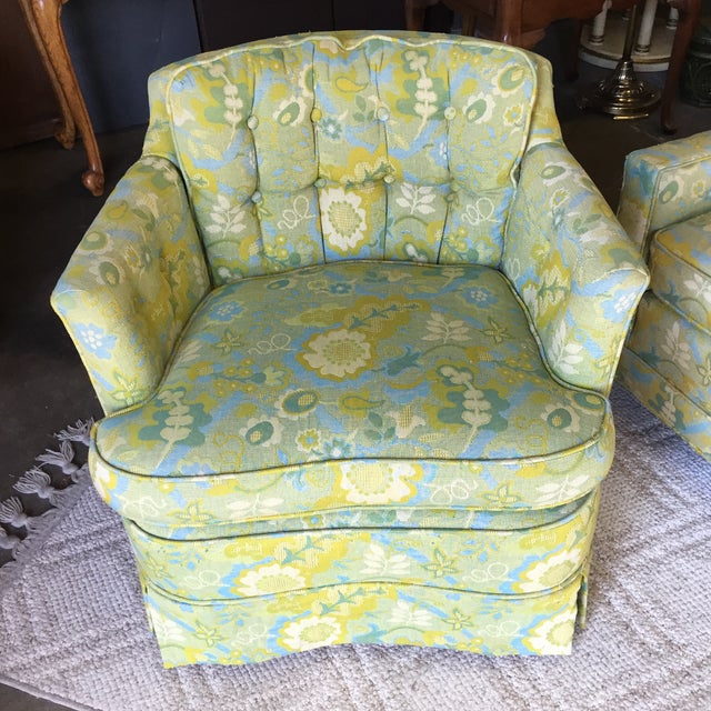 Mid-Century Blue-Green Floral Accent Chair - Image 3 of 8