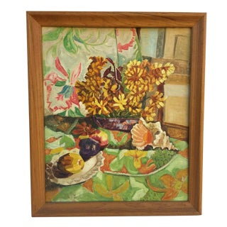 Mid Century Modern Still Life Painting Oil on Board Flowers