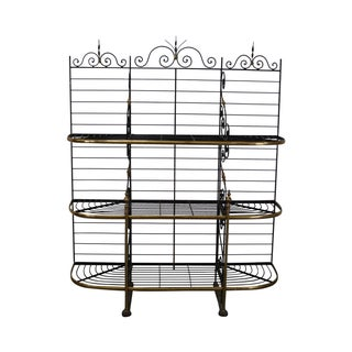 Vintage French Style Iron & Brass Baker's Rack