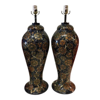Kashmiri Lacquer Hand Painted Lamps - A Pair