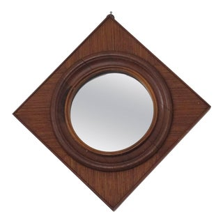Vintage Diamond Teak Wood Mirror