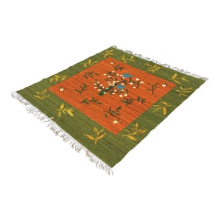 Green, Orange & Blue Kilim Rug - 5′10″ × 6′