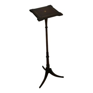 Vintage English Traditional Tall Leather and Wood Top Pedestal Stand