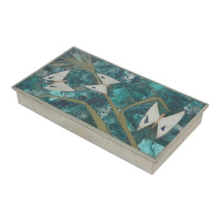 Los Castillo Mid-Century Azure-Malachite Copper & Silver Inlaid Box