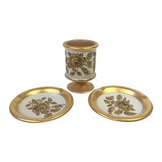 Italian Florentine Gold Smoking Set - 3 Piece Set