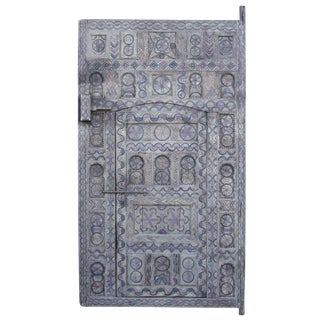 Moroccan Blue Painted And Carved Door