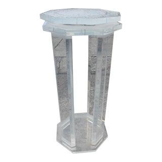 Sculptural Octagonal Lucite Swivel Top Pedestal