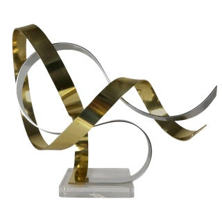 Dan Murphy, Anodized Aluminum Ribbon Sculpture in Gold and Silver