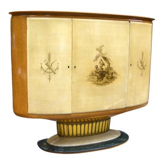 1940 Italian Parchment Cabinet or Bar with Bird's-Eye Maple Interior