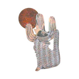 Vintage Southwestern Sterling Silver Coyote Cactus